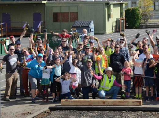 Community members, parents and students helped depave about 864 square feet of asphalt from the Vernon School yard. (Depave)