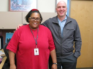 Assistant Cindra Gordon, left, provides administrative support to Daniel Wenger, Division Dean of Arts and Professions at Portland Community College's Cascade campus. (Kathy Eaton)