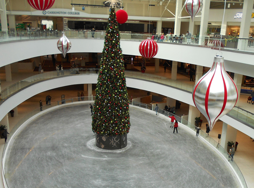 The Lloyd Center's new ice rink is part of the mall's renovation which is nearing completion. A 50-foot Christmas tree has been placed in the center of the shopping mall's new ice-skating rink, and indoor snow machines will give shoppers a holiday experience. (Phill Colombo)