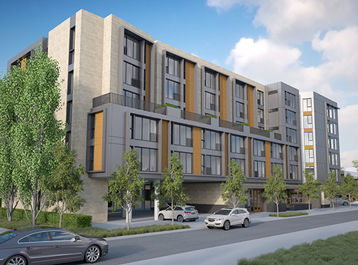 A proposed six-story mixed-use residential/retail building, as seen from the corner of Northeast Thompson Street and 51st Avenue. Developer Vic Remmers is working with the city for permits to build on the Taco Time property across Northeast Sandy Boulevard from Der Rheinlander restaurant, which will close early this year. (VWR Development)