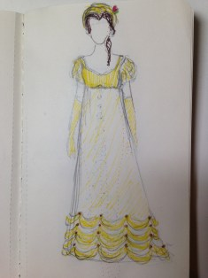 Belle - This was one of the more difficult ones, there's no Regency equivalent to the Austrian Drape-type ruching on the yellow ball gown, so I went with some heavy hem trim characteristic of late Regency dresses. She's wearing a turban as a nod to the yellow band she wears in her hair, with a rose-shaped pin.