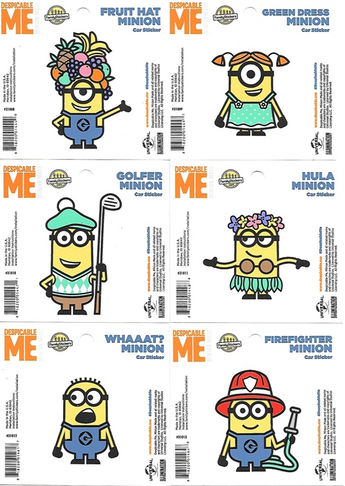 Despicable Me Minion Carl Figure Peel Off Car Sticker Decal NEW UNUSED