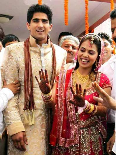 Vijender Singh with his wife