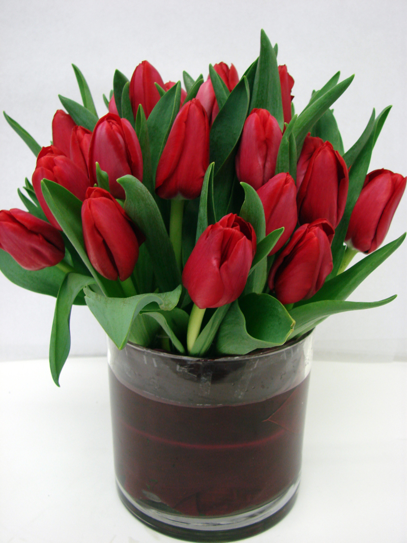 Red tulips in a modern cylindrical vase with leaf wrap treatment
