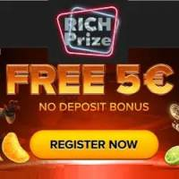 Rich Prize Casino €5 no deposit + 100% Bonus and 25 FS