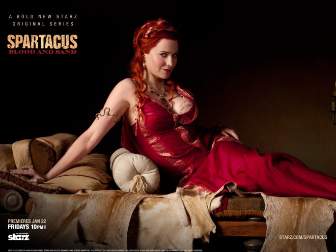 Lucy Lawless as Lucretia in the Starz show Spartacus Blood and Sand