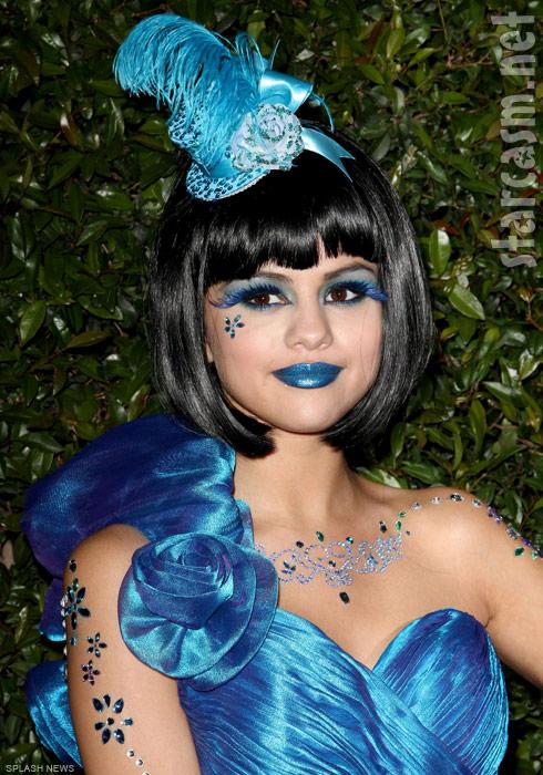 Selena Gomez in costume at Perez Hilton's 33rd birthday party
