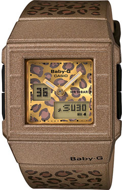 Brown Casio Baby-G watch with an animal print face model BGA200LP-5E