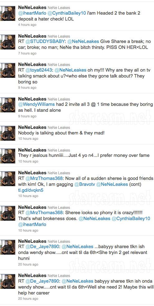 Nene Leakes attacks Sheree Whitfield, Phaedra Parks and Kandi Burress on Twitter