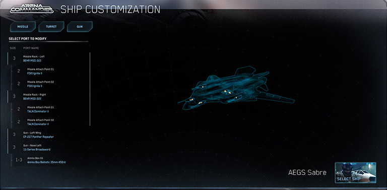 Ship customization interface
