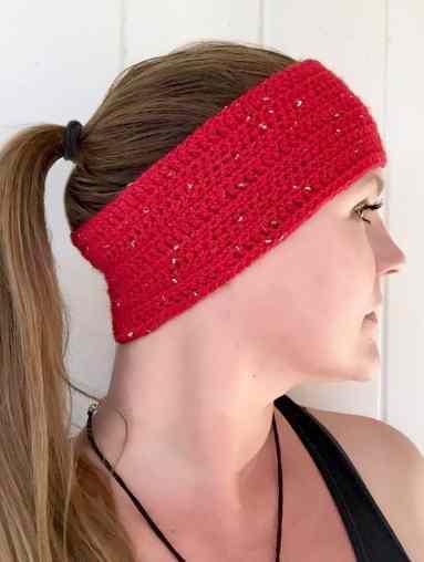 DIY Crochet Sparkle Motion Headband Side