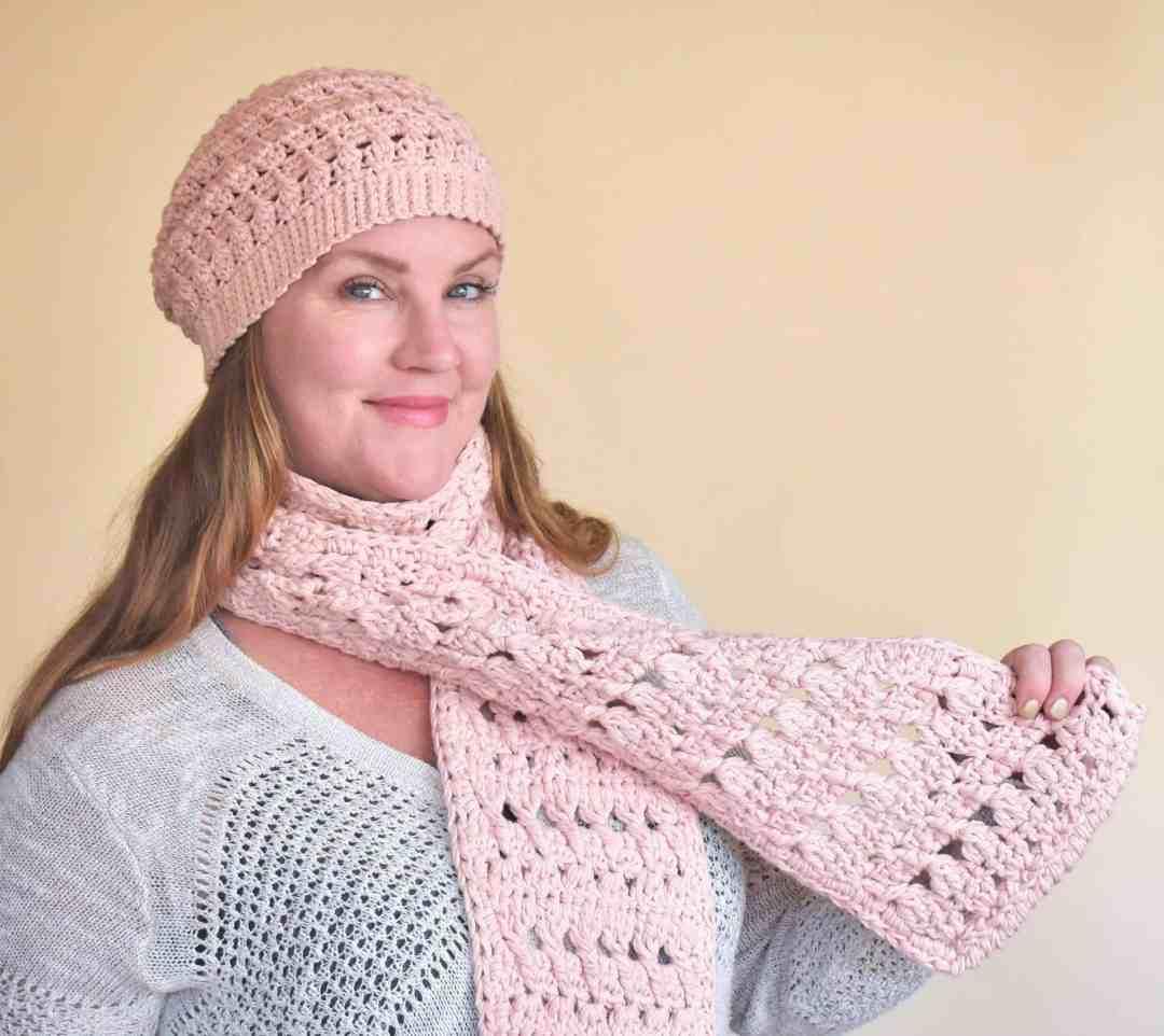 Winter Blush Beanie Scarf Easy Free Crochet Pattern Perfect