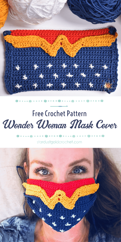 Wonder Woman Crochet Mask Cover PIN