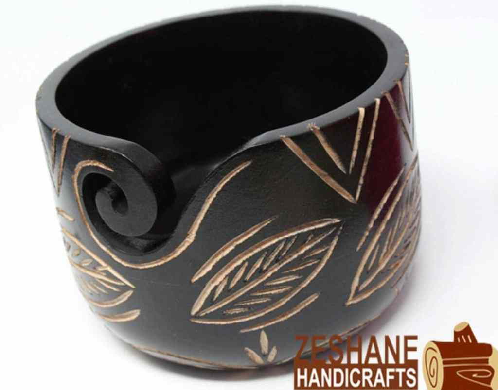 Carved Wooden Yarn Bowl by Zeshane Handicrafts