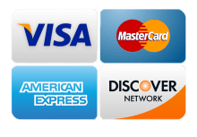 now taking visa discover msatercard