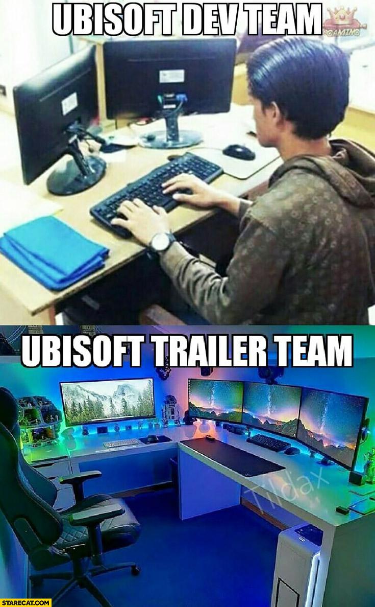 Ubisoft Dev Team Vs Ubisoft Trailer Team Fail