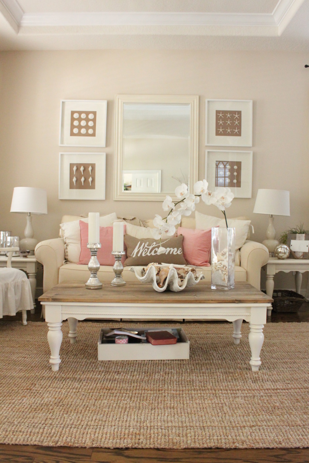 Pink Decor For Living Room And Dining Room Starfish Cottage