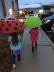 A walk in the rain to dance class