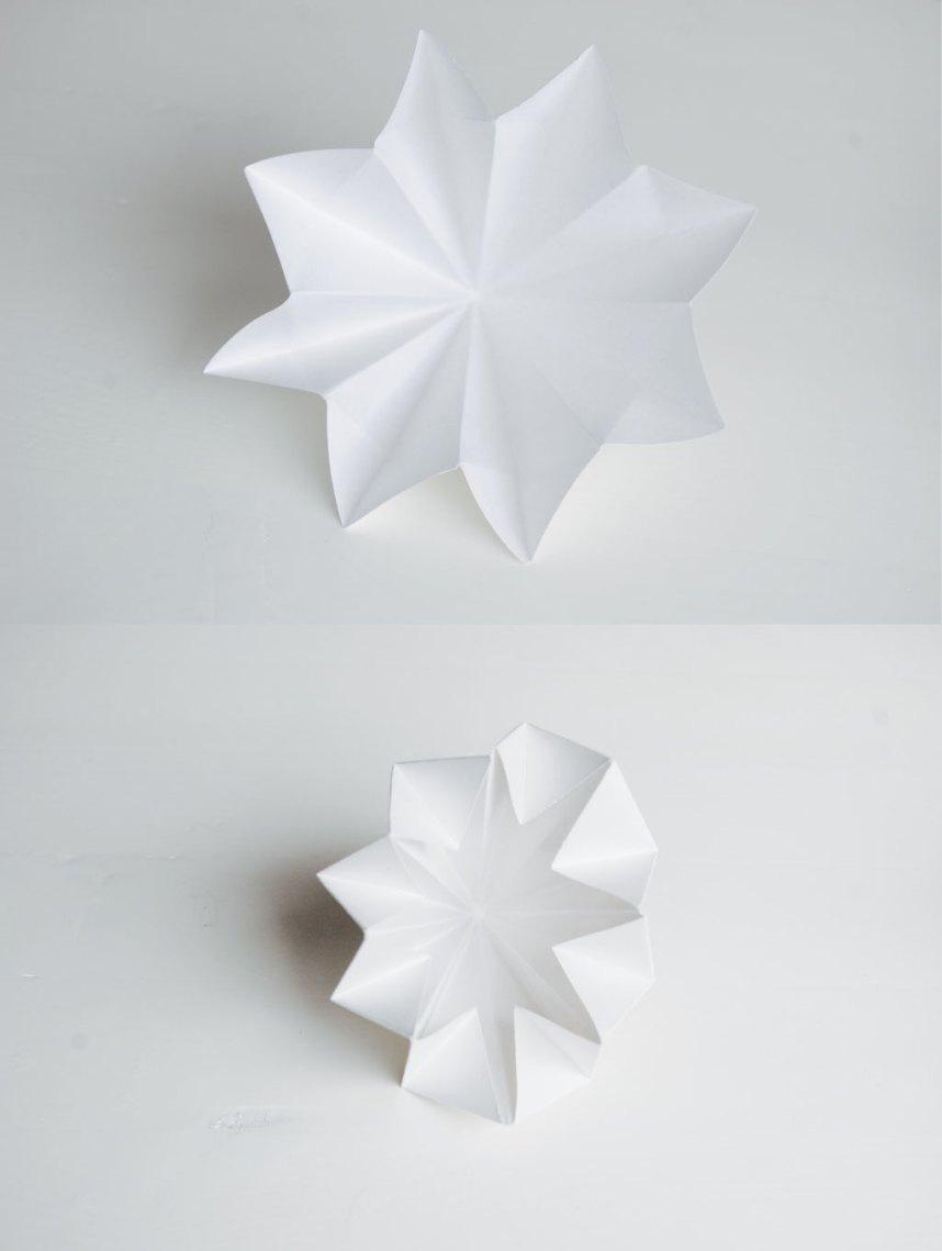 DIY Papirdiamant fold papiret ud og buk kanterne ned