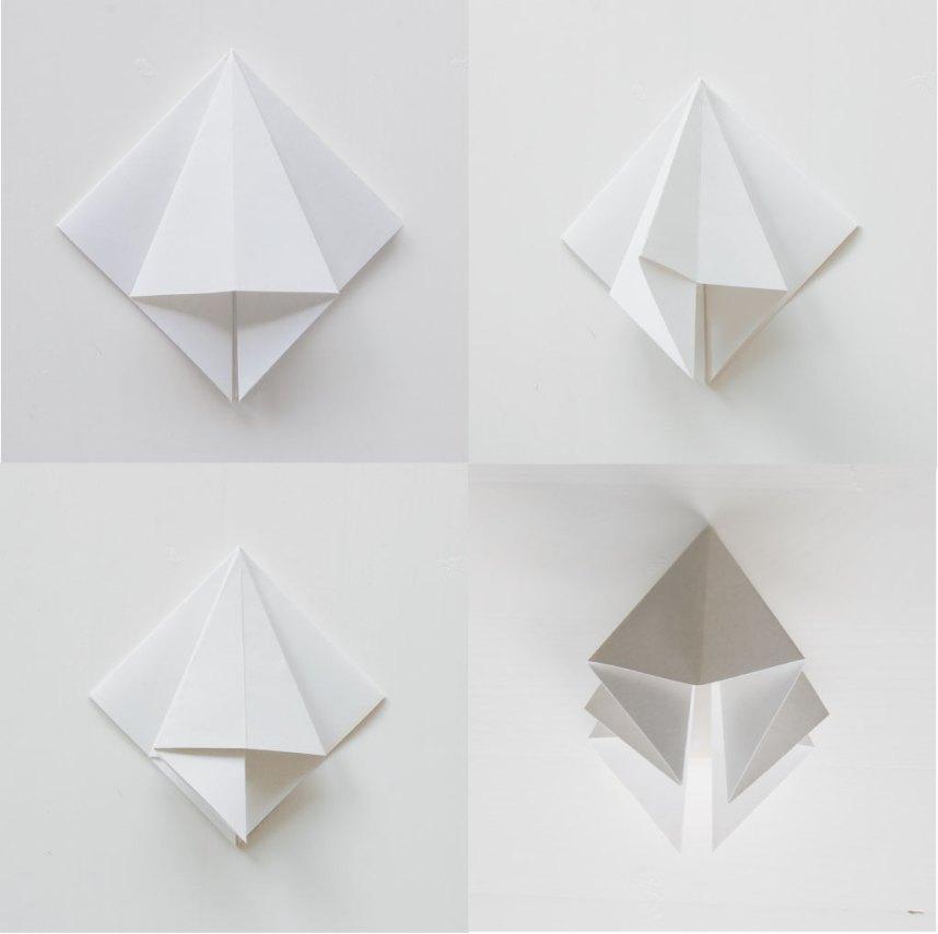 DIY Papirdiamant nu skal folderne deles i halv så der opstår 8 flapper ialt