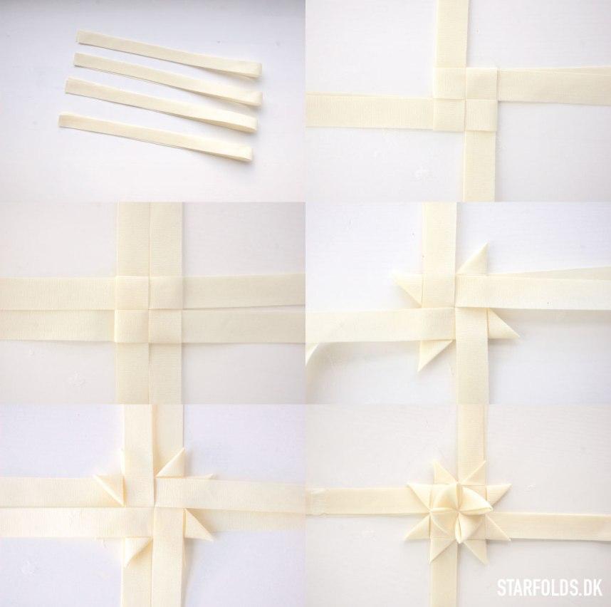 DIY Flettet julestjerne I tekstilbånd trin 6