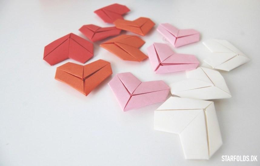 DIY origami hjerter i papir i rode nuancer
