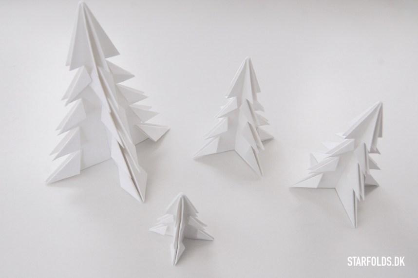 DIY Juletræer - færdigfoldet resultat