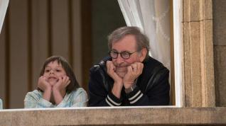 Director Steven Spielberg and Ruby Barnhill