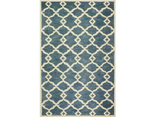 Blue Geometric Patterned Rug
