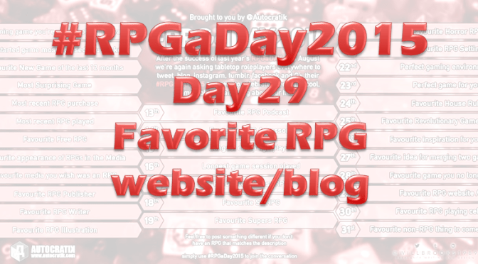 RPG a Day 2015 Challenge – Day 29