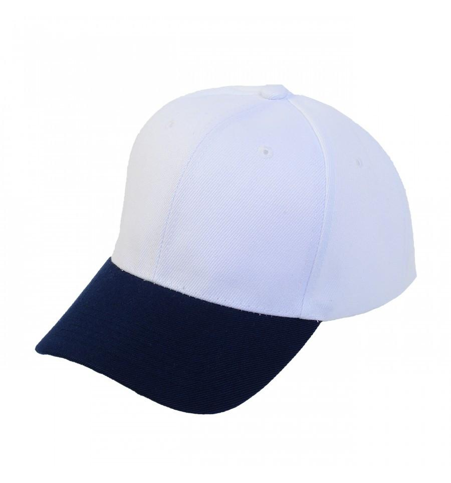 Custom 2-Tone Velcro Baseball Cap (Embroidered with Logo) - White/Navy - AF1011T