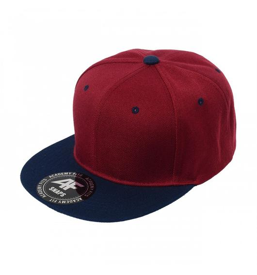 Custom 2-Tone Classic Snapback Flat Bill Hat (Embroidered with Logo) - Burgundy/Navy - AF1013T