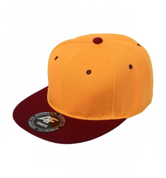 Custom 2-Tone Classic Snapback Flat Bill Hat (Embroidered with Logo) - Gold/Burgundy - AF1013T
