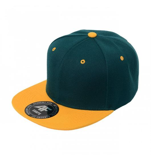Custom 2-Tone Classic Snapback Flat Bill Hat (Embroidered with Logo) - Teal/Gold - AF1013T