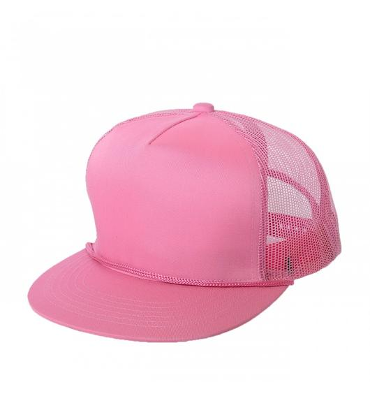 Custom Trucker Mesh 5 Panel Flat Bill Hat (Embroidered with Logo) - Pink - AF2071