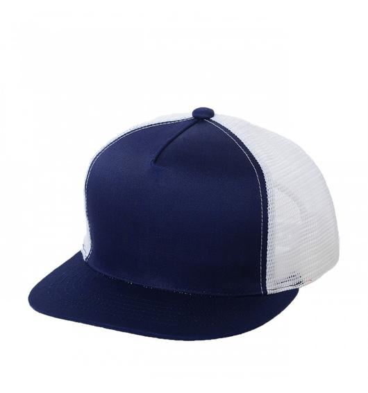Custom Trucker Mesh 5 Panel 2-Tone Flat Bill Hat (Embroidered with Logo) - Navy/White - AF2071T