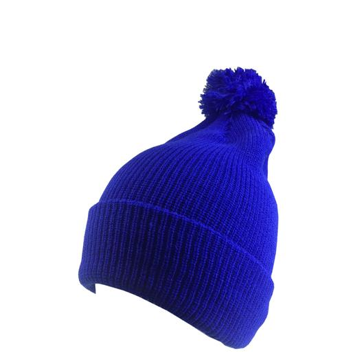 Custom Knit Beanies with Pom Pom Soft (Embroidered with Logo) - Royal - AF6013P