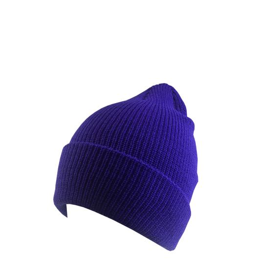 Custom Knit Beanie Soft (Embroidered with Logo) - Purple - AF6013S