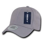 Custom Baseball Flex Hats (Embroidered with Logo) - Grey - Decky 1016W
