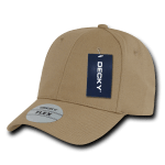 Custom Baseball Flex Hats (Embroidered with Logo) - Khaki - Decky 1016W