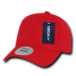 Custom Baseball Flex Hats (Embroidered with Logo) - Red - Decky 1016W