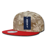 Custom Digital Camo Snapback Flat Bill Hat (Embroidered with Logo) - Red/Desert/Desert - Decky 1047