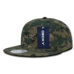 Custom Digital Camo Snapback Flat Bill Hat (Embroidered with Logo) - Woodland Digital Camo - Decky 1047