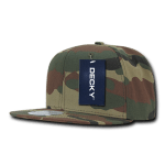 Custom Camo Snapback Flat Bill Hat (Embroidered with Logo) - Woodland Camo - Decky 1049