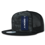 Custom 5 Panel Flat Bill Trucker Flat Bill Hat (Embroidered with Logo) - NTG/Black - Decky 1063