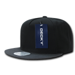 Custom 5 Panel Snapback Flat Bill Hat (Embroidered with Logo) - Black/Dark Grey - Decky 1064