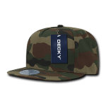 Custom 5 Panel Snapback Flat Bill Hat (Embroidered with Logo) - Woodland Camo - Decky 1064