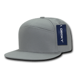 Custom 7 Panel Snapback Flat Bill Hat (Embroidered with Logo) - Grey - Decky 1098