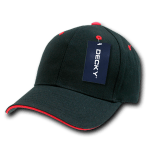 Custom Sandwich Bill Baseball Hat (Embroidered with Logo) - Black/Red - Decky 2003