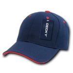 Custom Sandwich Bill Baseball Hat (Embroidered with Logo) - Navy/Red - Decky 2003